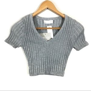 LF Rumor Boutique Ribbed Crop Top Womens Size S